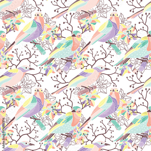 Aufkleber - Seamless floral pattern with birds