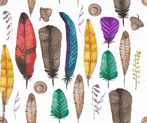 Cotton fabric pattern with feathers