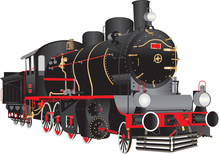 Vintage Steam Engine On White