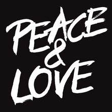 Vector White Painted Sign PEACE & LOVE
