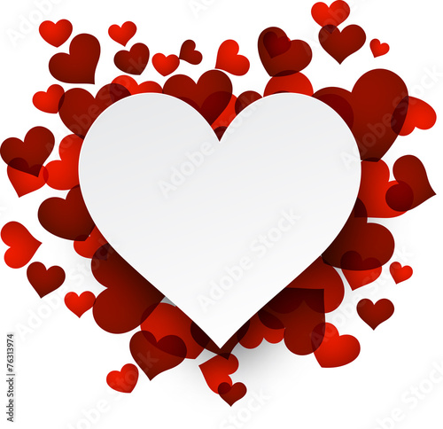Fotografie, Obraz  Valentine's background with red hearts.