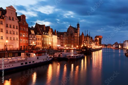 obraz PCV Stare miasto w Gdańsku na Motławą