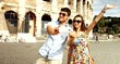 Pretty Young Tourists Posing Self Portrait Selfie Rome Vacation