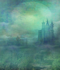 abstract landscape with old castle in moonlight
