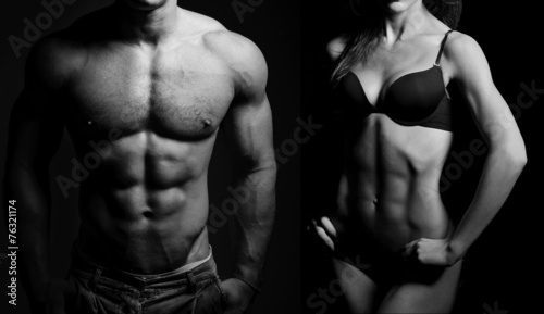 Bodybuilding. Man and  woman Canvas Print