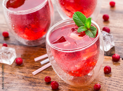 Cranberry cocktail with mint garnish. Poster