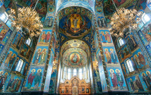 fototapeta na lodówkę Wnętrze kościoła Zbawiciela na Krwi rozlane, Sankt Petersburg