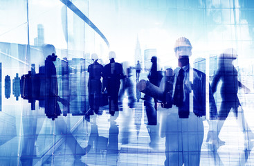 Silhouette Business People Traveling Cityscape Commuter Concept