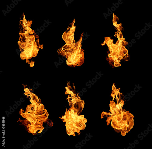 Keuken foto achterwand Vuur Fire flames collection isolated on black background
