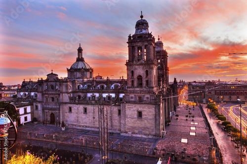 Papiers peints Mexique Metropolitan Cathedral Zocalo Mexico City Sunrise