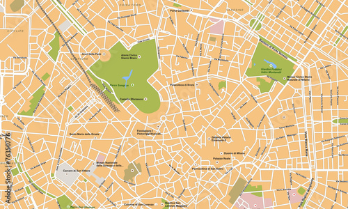 Cuadros en Lienzo Milano city vector map