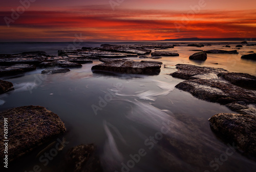 Rocky beach long exposure seascape after sunset