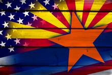 USA And Arizona State Flag On ...