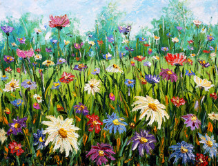 Fototapeta Do biura Original oil painting of flowers Wildflowers.