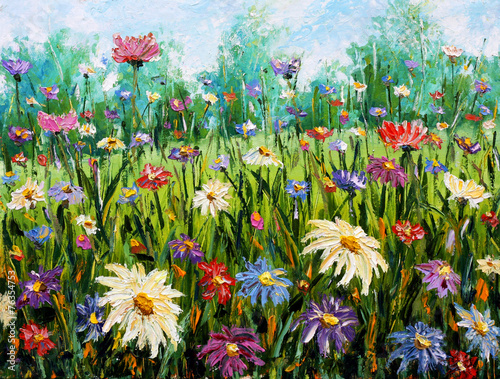 Original oil painting of flowers Wildflowers. - 76354753