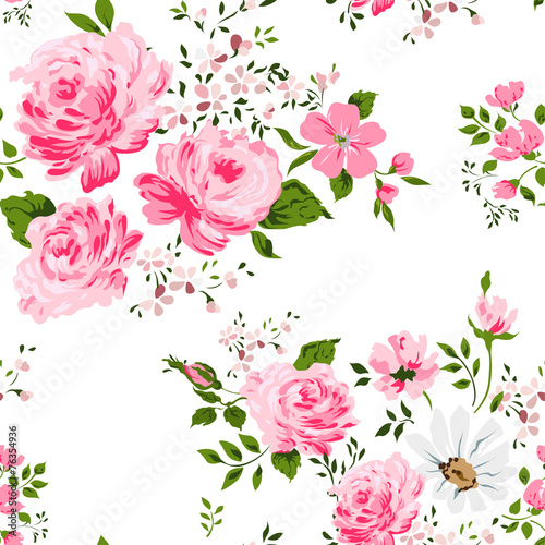 Cotton fabric Seamless pattern with pink roses and camomile.