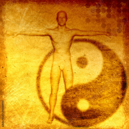 Fotografie, Obraz  Abstract  grunge esoteric background with yin yang symbol
