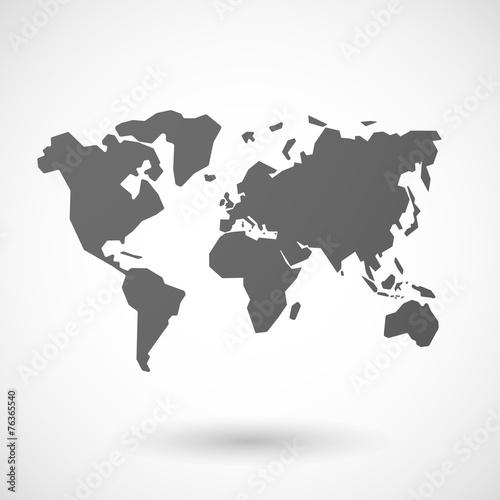 Staande foto Wereldkaart world map icon on white background