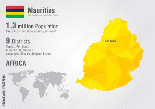 Mauritius World Map With A Pixel Diamond Texture Buy This Stock