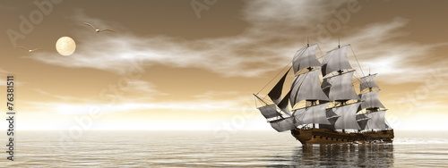 Tuinposter Schip Old merchant ship - 3D render