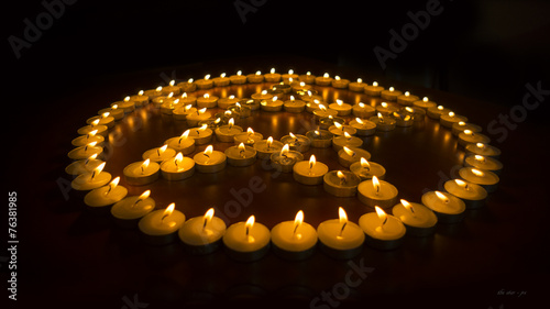 Photo  Burning Candles in a Pentagram