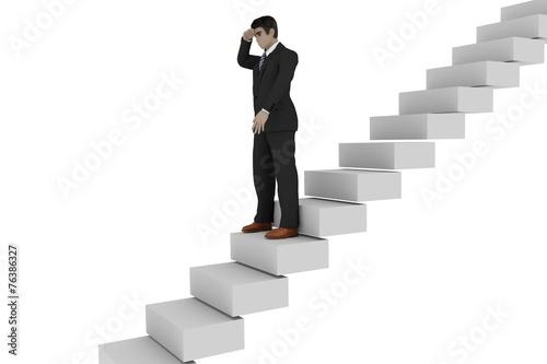 Businessman On The Stairs Looks Back Kaufen Sie Diese Illustration