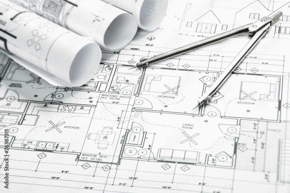 Fototapety, obrazy: Construction planning drawings