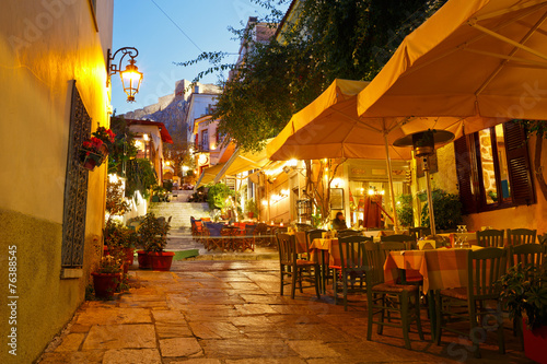 Streets of Plaka in centre of Athens, Greece.