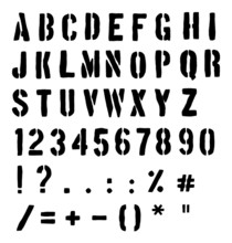 Cargo Or Traffic Stencil Alphabet