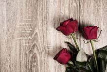 Red Rose Flowers On Wood Backg...