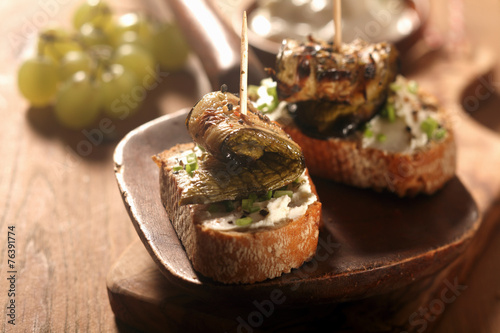 Fotografie, Obraz  Gourmet Toasted Bread with Roasted Rolled Fish