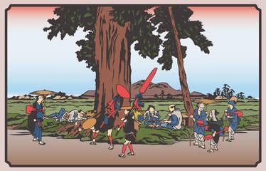 Panel Szklany Do sushi baru 歌川広重 木曽街道六十九次・伏見のイラスト