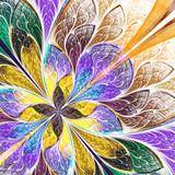 Symmetrical flower pattern in stained-glass window style. Blue,