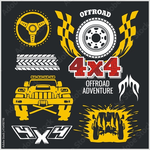 Off-road elements and emblem - vector set #76418798