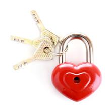Heart-shaped Padlock With Key Isolated On White