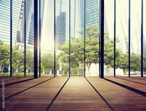Obraz na płótnie Office Cityscape Builidings Contemporary Interior Room Modern