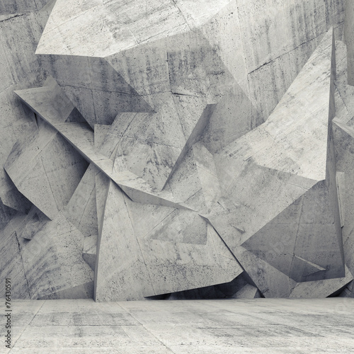 Empty gray concrete 3d interior with chaotic polygonal wall #76430591