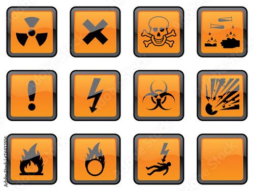 Fotografie, Obraz  Square Hazard Signs