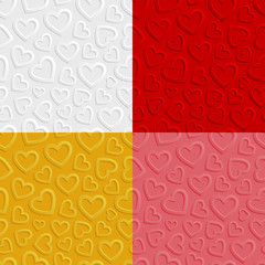 Obraz na Plexi Set of seamless patterns with hearts