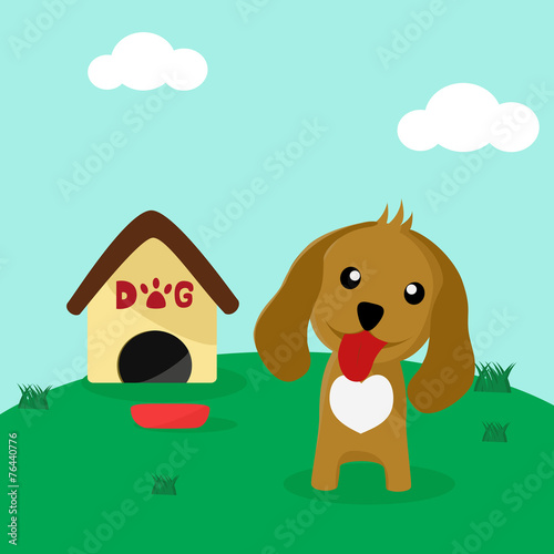 Poster Dogs Cute dog in front of his home with a bowl of food