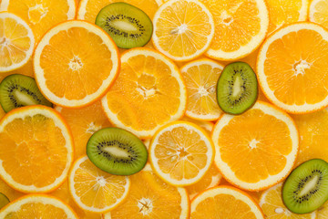 Sliced healthy fruits background