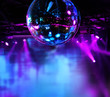canvas print picture - Colorful disco mirror ball lights