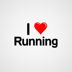 Fototapeta Bieganie I love running, font type with heart sign