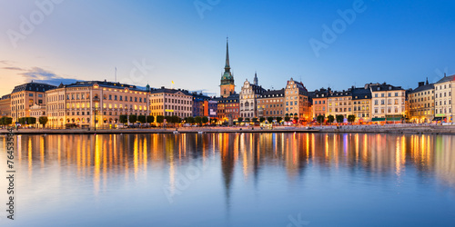 Gamla Stan at night in Stockholm Wallpaper Mural