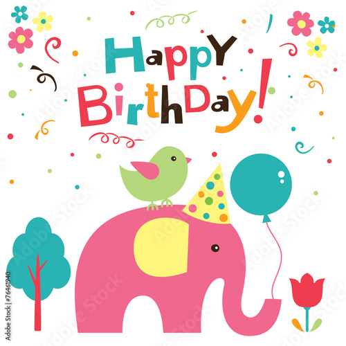 Photo  birthday elephant design