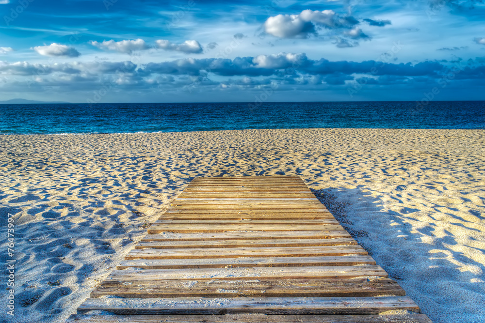 Fototapety, obrazy: wooden boardwalk on the sand in hdr