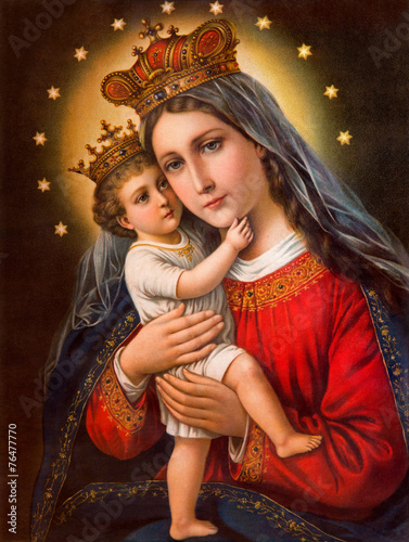 Typical catholic image of Madonna with the child - 76477770