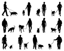 Silhouettes Of People And Dogs...