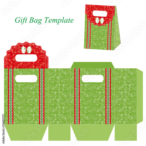 Green gift bag template with floral pattern and ribbon - Buy this ...