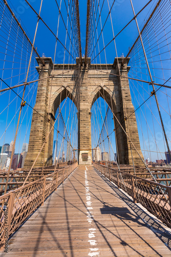 In de dag Bruggen Brooklyn Bridge and Manhattan New York City US